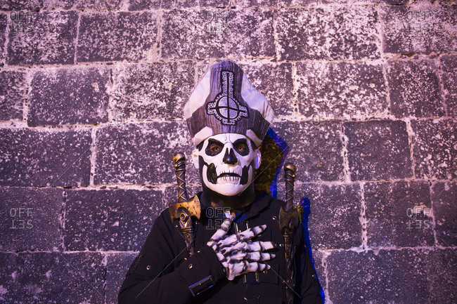 Mexico City, Mexico - November 2, 2017: Man dressed in costume at the Day of the dead celebrations at Mixquic town cemetery