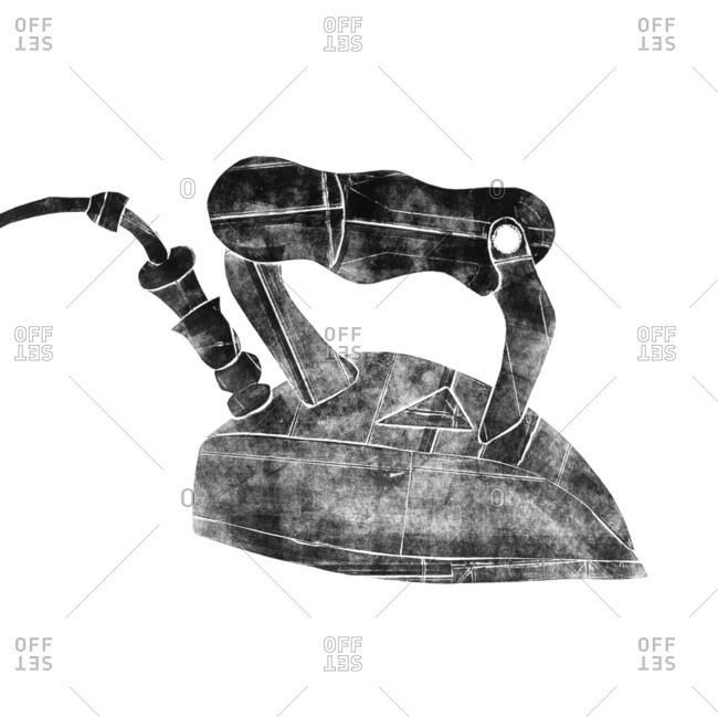 Black and white illustration of a vintage iron