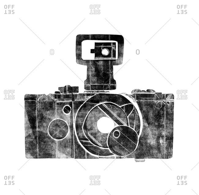 Black and white illustration of a vintage camera