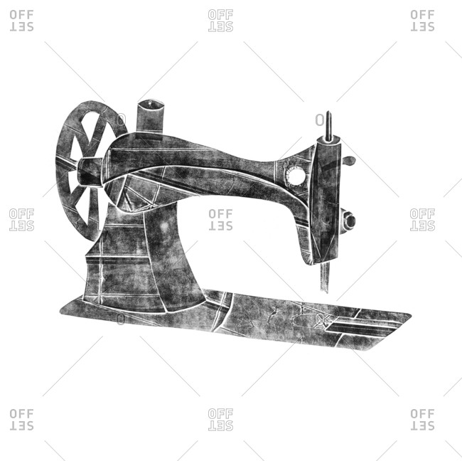 Retro sewing machine illustration