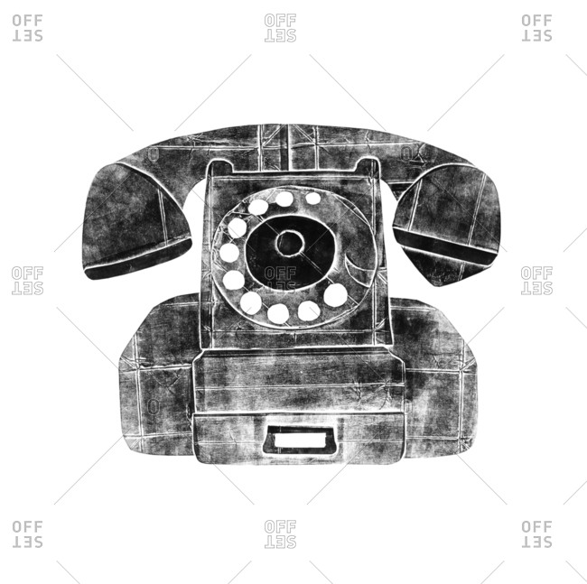 Black and white illustration of a rotary dial telephone