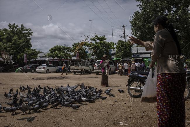 Bagan, Myanmar - September 26, 2016: Woman feeding pigeons in the streets of Bagan