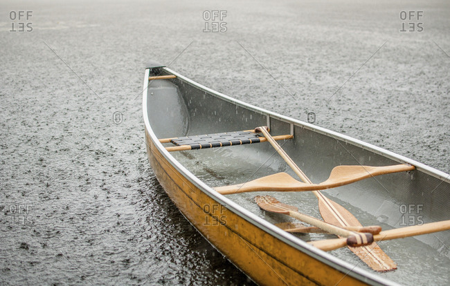 High angle view of canoe on shore