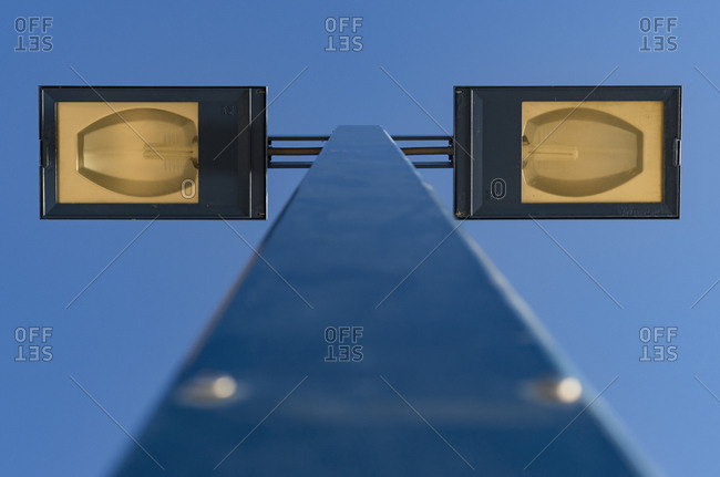 Birds eye view of street lamp pole