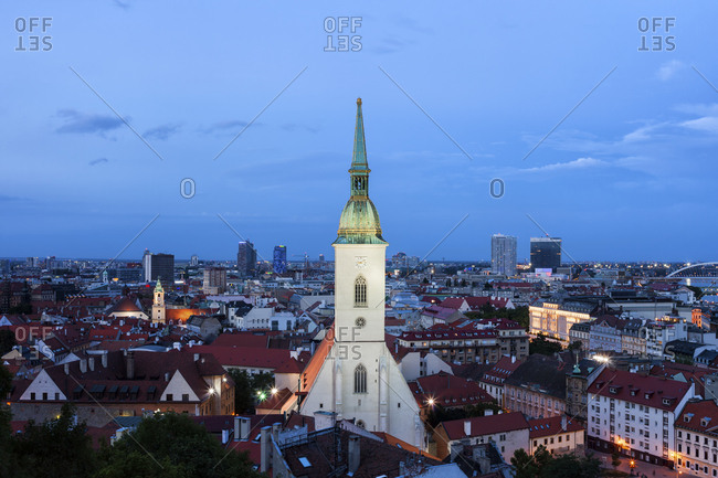 Slovakia- Bratislava- evening cityscape with St. Martin's Cathedral