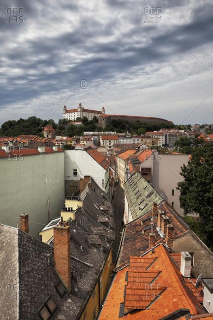 Slovakia- Bratislava- historic center- view over houses roofs towards Bratislava Castle