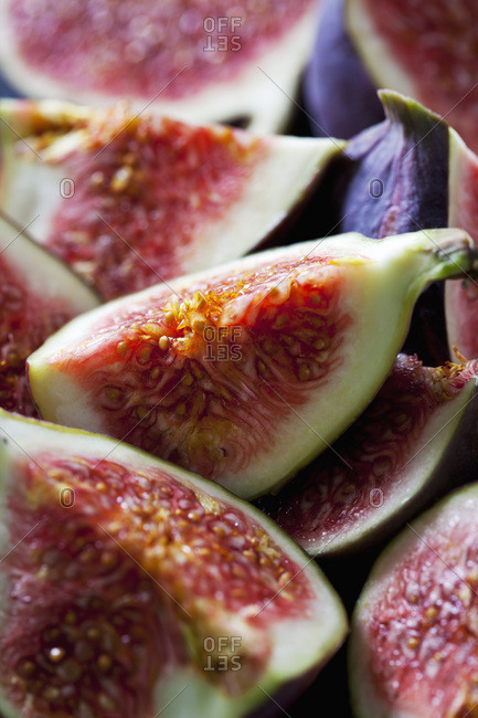 Quarters of fresh figs- close-up