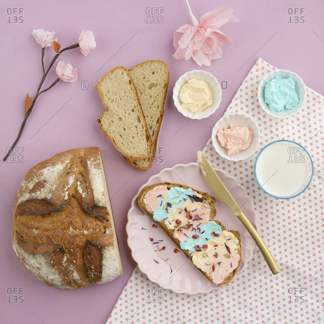 Pastel-colored cream cheese- milk and bread