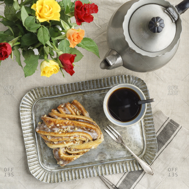 Striezel pastry and cup of coffee