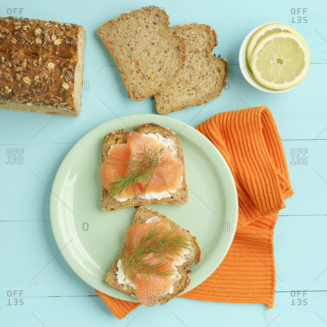 Carrot bread with cream cheese and smoked salmon