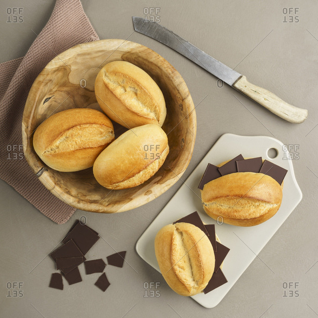 Bread rolls and little chocolate bars