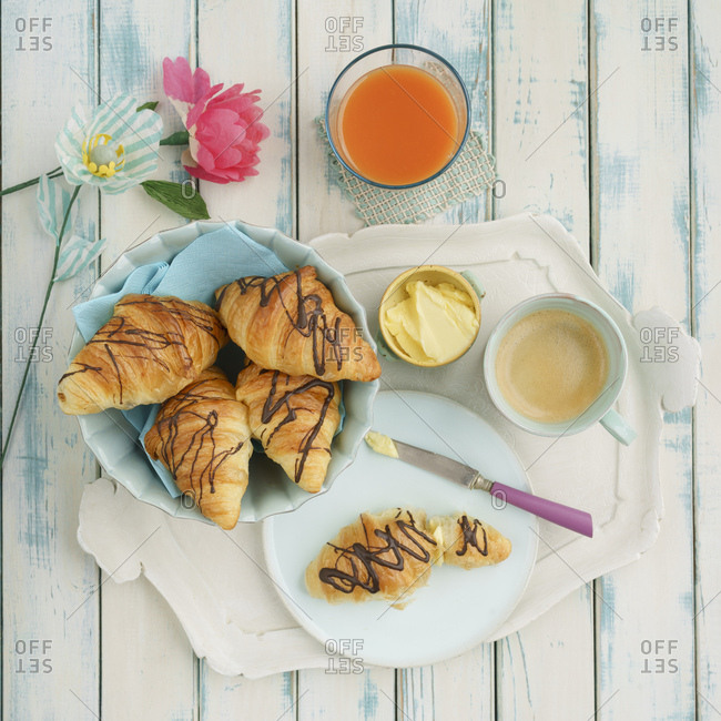 Breakfast with chocolate croissants