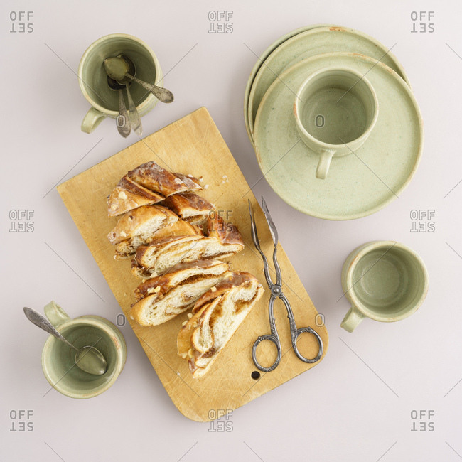 Striezel pastry and coffee dish set