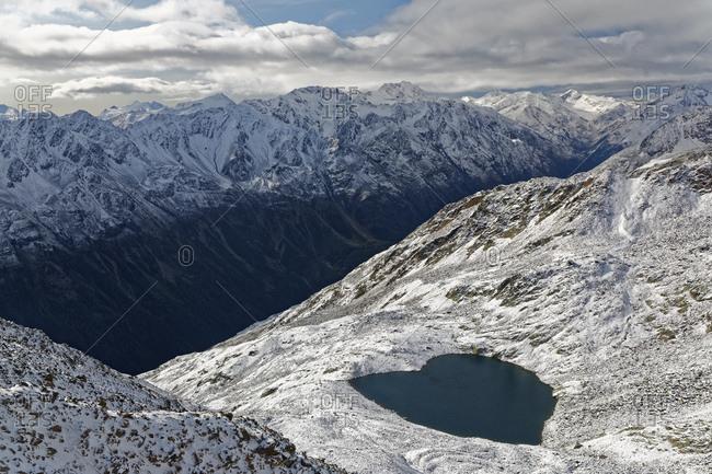 Austria- Tyrol- Oetztal- Soelden- view from Gaislachkogel to Lake Gaislach