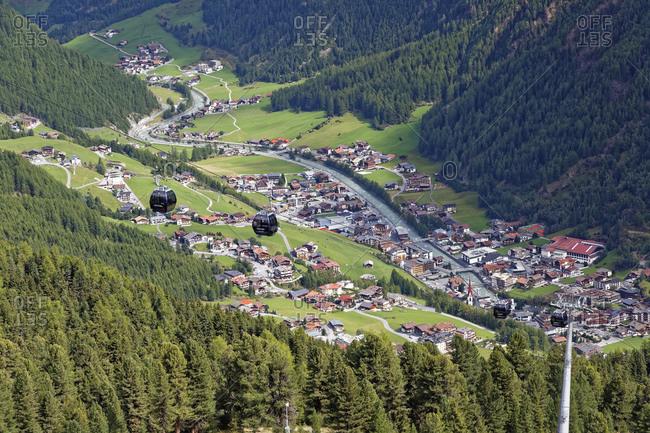 Austria- Tyrol- Oetztal- view on Soelden and Gaislachkogel cable car