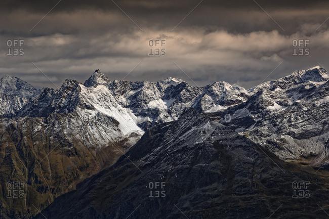 Austria- Tyrol- Oetztal- Soelden- view from Gaislachkogel to Oetztal Alps