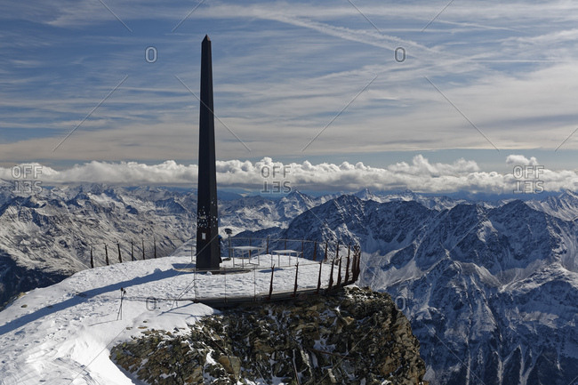 Austria- Tyrol- Oetztal- Soelden- observation deck Schwarze Schneid with obelisk