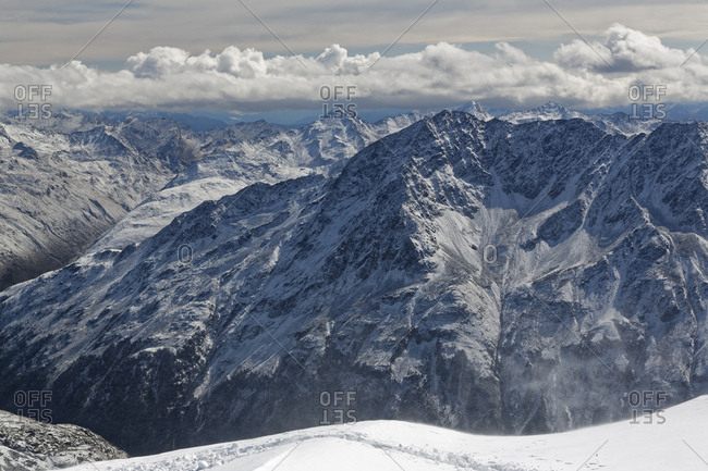 Austria- Tyrol- Oetztal- Soelden- view from observation deck Schwarze Schneid on Oetztal Alps