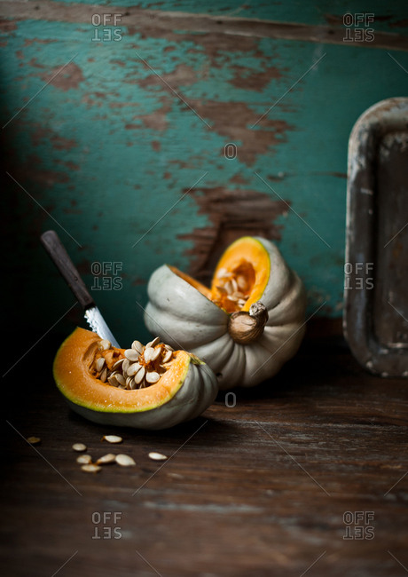 Pumpkin Slice With An Inserted Knife