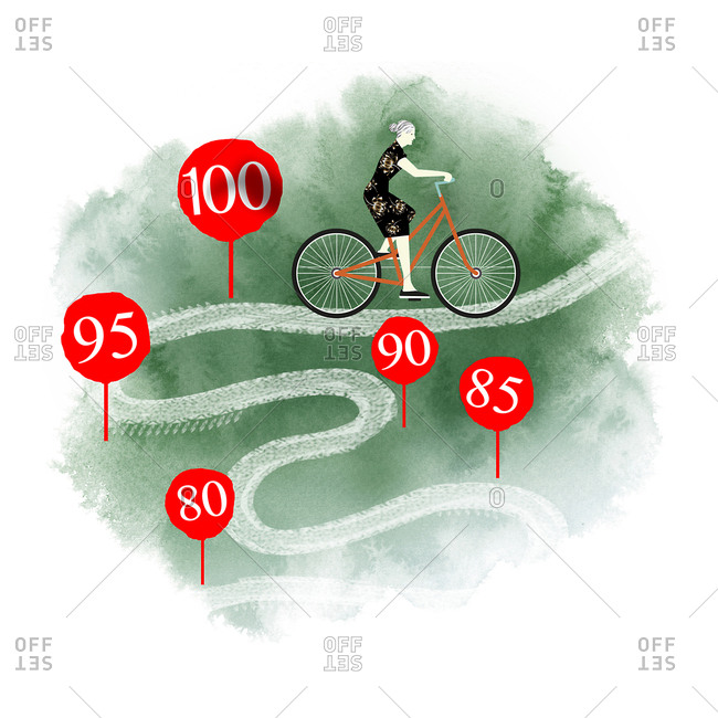 Healthy old woman riding a bike past mile markers that represent age