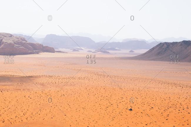 Vast desert landscape of Wadi Rum, Jordan