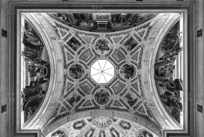 New York City, New York, USA - March 25, 2016: Ceiling at the Morgan Library and Museum