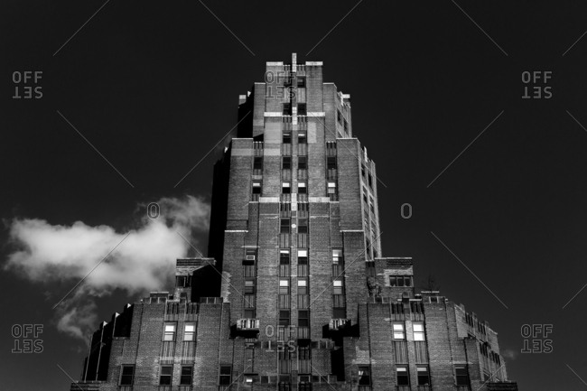 Exterior of Art Deco apartment building in New York City