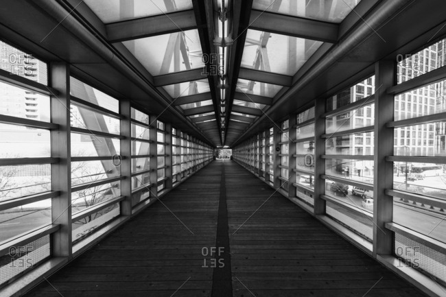 Interior of pedestrian bridge in New York City