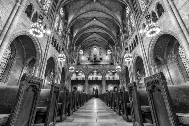 New York City, New York, USA - April 6, 2016: Interior of Riverside Church