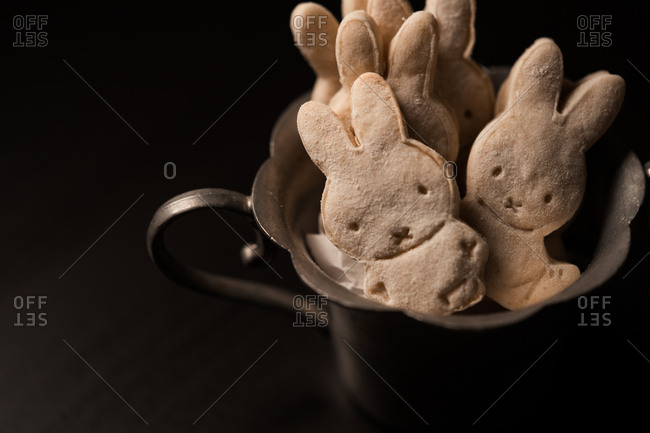 Bunny cookies in a metal dish
