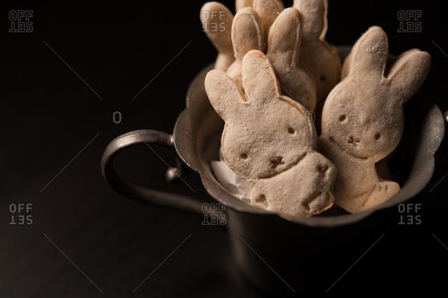 Bunny cookies in a metal dish