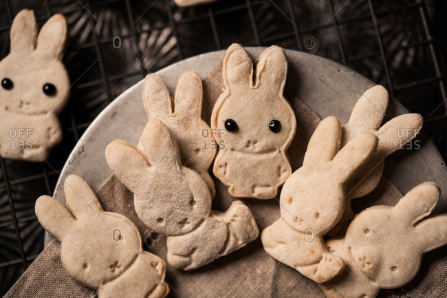 Bunny shaped cookies on a plate