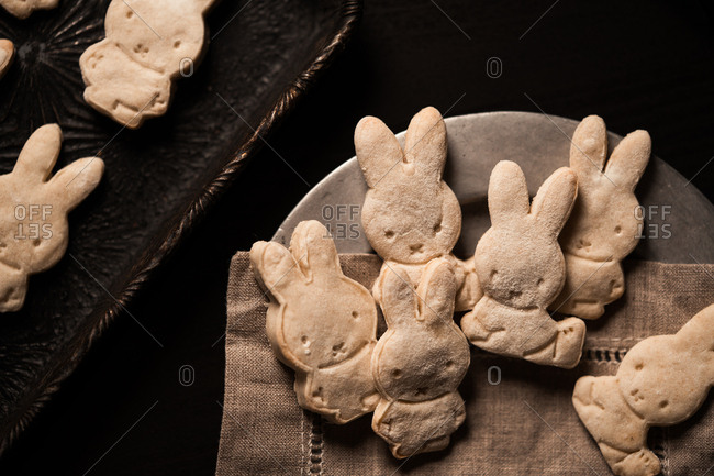 Fresh baked bunny shaped cookies