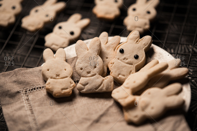 Close up of bunny shaped cookies on a plate