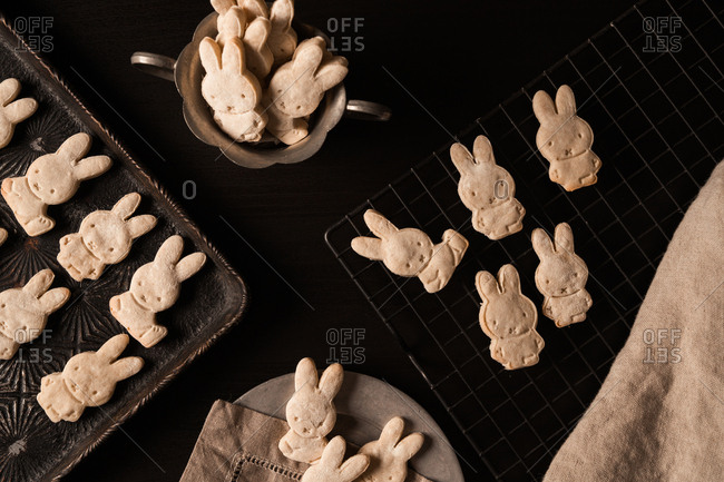 Close up of bunny shaped cookies cooling