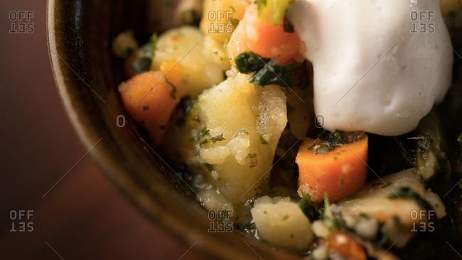 Close up of potato soup