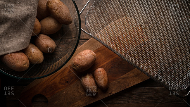 Potatoes being prepared to be air fried