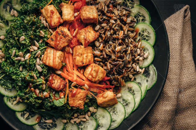 Wild rice tofu bowl