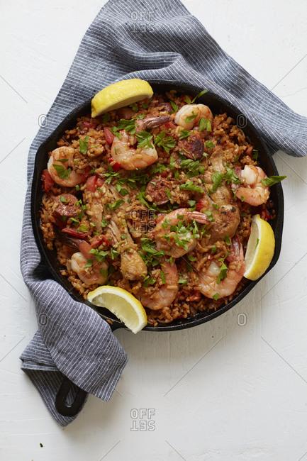 Jambalaya with shrimp and sausage