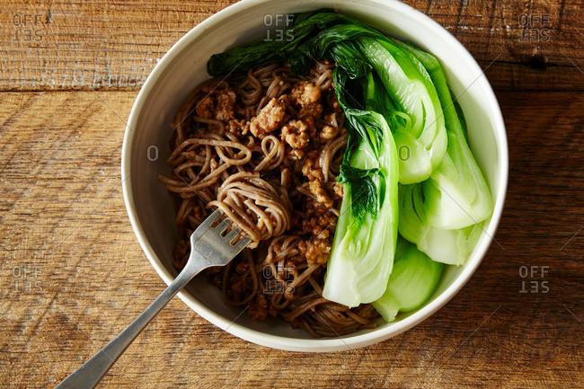 Black bean noodles with pork