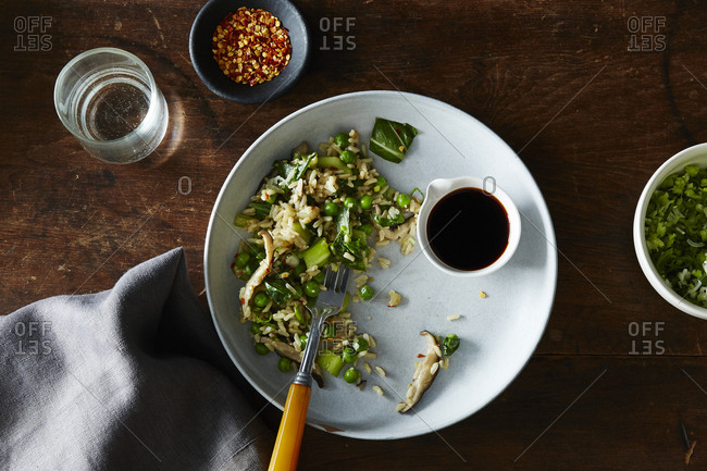Fried rice with bok choy and peas