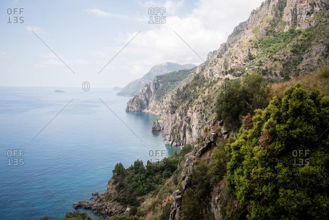 Rugged hillside along the Amalfi Coast in Italy