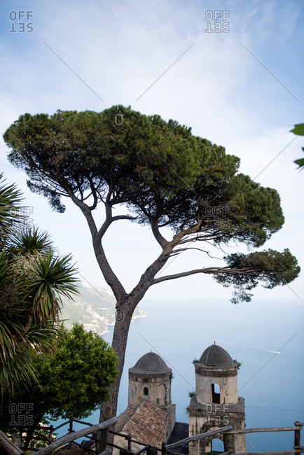 View from garden of Villa Rufolo in Ravello, Amalfi Coast, Italy
