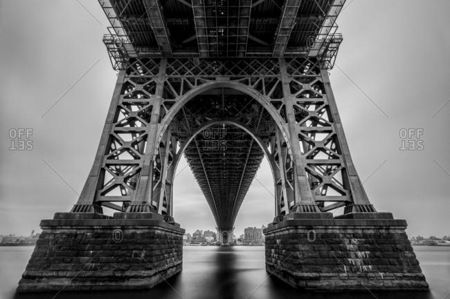 April 22, 2016 - New York, NY: View of East River from underneath the Williamsburg bridge