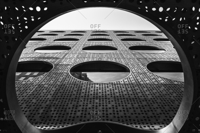 April 24, 2016 - New York, NY: Street view of large circle windows at the Dream Hotel
