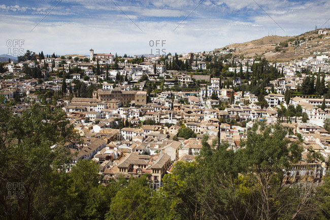 Overview on the city of Grenada (Granada) seen from the Alhambra, Grenada, Andalusia, Spain