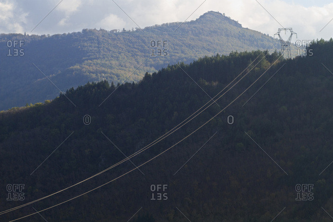 France, National park of High-Languedoc, Montagne Noire, a line with high voltage.