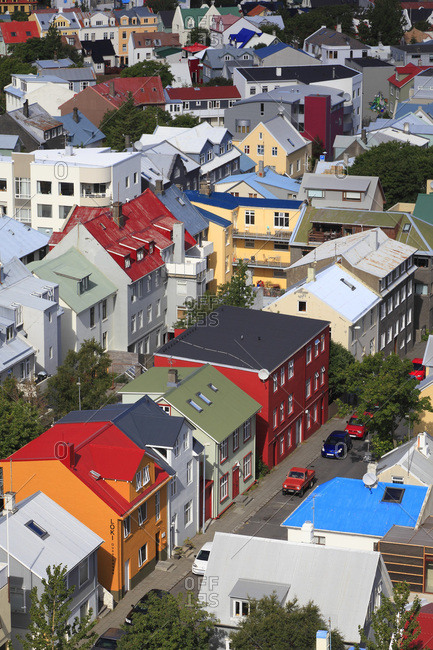 August 10, 2015: Iceland, Reykjavik. Town center. The roofs