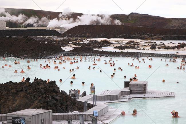 August 10, 2015: Thermal bath Blue Lagoon near Grindavik, Iceland