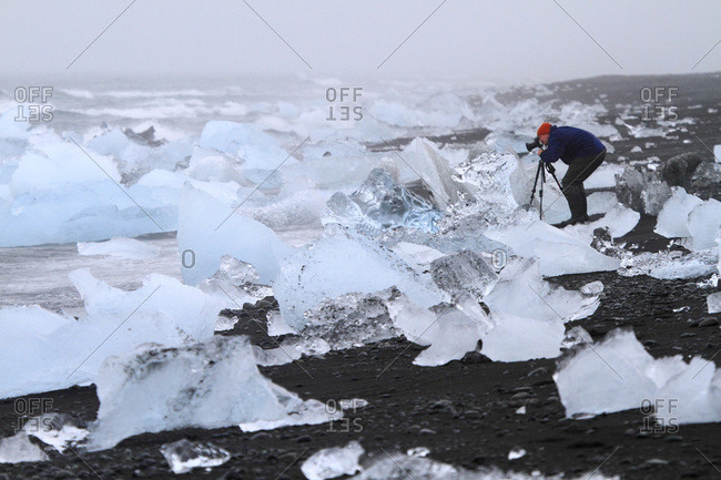 August 8, 2015: Iceland, chunks of ice on the shore of Jokussarlon